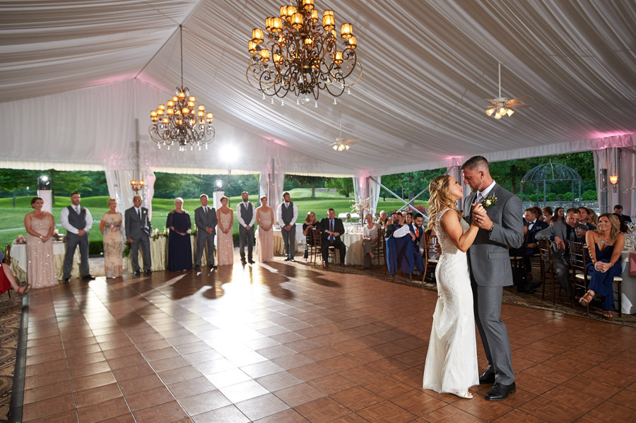 Couple enjoys their first dance at West Hills Country Club